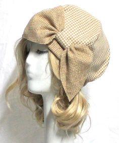 3fb99baf1de Beret Hat Vintage Tan Herringbone Wool with Bow by Bellastarrhats