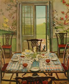 "David Payne's watercolor of the breakfast room at ""Point Farm"" shows that antique mahogany furniture & Chinoiserie wallpaper needn't be restricted to formal rooms. The house itself--designed by Gertrude Sawyer & decorated by the firm of Schuyler & Lounsbery--is now a museum.  Published in the 1947 edition of HOUSE& GARDEN'S COMPLETE GUIDE TO INTERIOR DECORATION."
