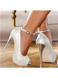 $ 81.99 Most Popular Silvery White Peep Toe Strap Stiletto Heel Pumps