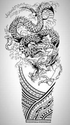Dragon Tattoo Stencil, Dragon Tattoo Colour, Half Sleeve Tattoo Stencils, Koi Dragon Tattoo, Dragon Sleeve Tattoos, Forearm Sleeve Tattoos, Japanese Sleeve Tattoos, Dragon Tattoo Designs, Tattoo Sleeve Designs