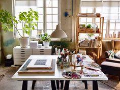 Låt hobbyn ta plats! ODDVALD benbockar. Med bordssystemet LINNMON kan du kombinera ihop din egen lösning, efter utrymme och smak. Stilrena ALEX hurts, är perfekt för förvaring av teckningar.