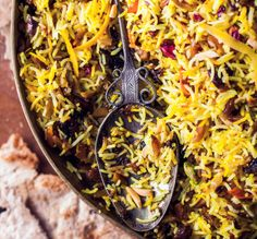 Jeweled Rice.  Seems like climbing a mountain to make this  but I can't turn away from a challenge.  Also making this for dinner tomorrow if I can find some better saffron.