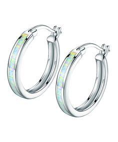 Take a look at this Opal & Silvertone Hoop Earrings today!