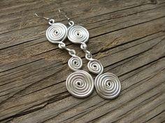 Handmade Bohemian Earrings ~ Dangly Spiral Earrings with Spiral Drop ~ 12G Aluminum Wire Earrings ~ Extra Long Earrings ~ Gypsy Earrings
