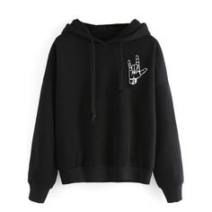 I love you hand gesture black hoodie