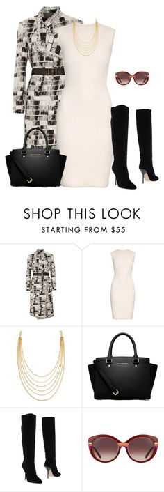 """""""outfit 3028"""" by natalyag ❤ liked on Polyvore featuring Donna Karan, Alexander McQueen, White House Black Market, MICHAEL Michael Kors, Jimmy Choo and Salvatore Ferragamo"""