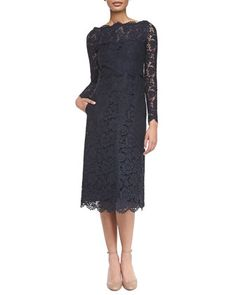 Long-Sleeve Tea-Length Lace Dress by Valentino at Neiman Marcus.