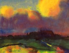 "Emil Nolde (1867–1956), ""Haus Seebüll,"" c. 1940, Watercolor on Japan paper, 13 7/8 x 18 1/8 in. (Courtesy Moeller New York)"