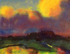 """Emil Nolde (1867–1956), """"Haus Seebüll,"""" c. 1940, Watercolor on Japan paper, 13 7/8 x 18 1/8 in. (Courtesy Moeller New York)"""