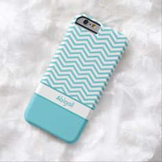 A trendy slim #iPhone6case with a popular turquoise blue and white chevron pattern. Personalize this affordable quality, zig zag mobile device cover by adding your name.