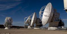Radio telescope antennas of the ALMA (Atacama Large Millimeter/submillimeter Array) project, in the Atacama desert, some 1500 km north of Santiago, on March 12,2013.