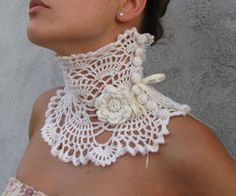 Crocheted ivory Choker/Necklace by kovale on Etsy