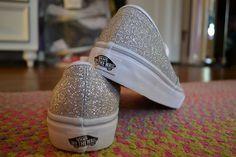 Silver glittered Vans