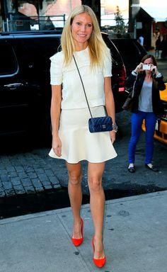 Gwyneth: White on white with a pop of burnt orange.