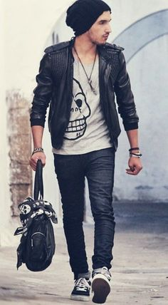 "The ""I used to be in a band"" look. Shop on Italist.com for that awesome McQueen skull scarf. Summer / Spring men's fashion"