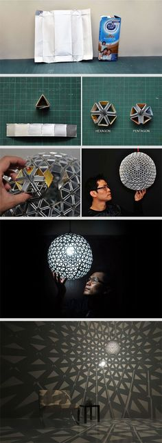Here are some ideas for 10 gorgeous DIY lamps and chandeliers made from recycled everyday items. Whip out your scissors and glue gun and get creative with it!