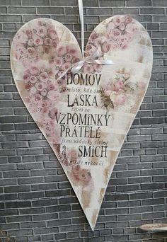 Vintage srdce, cedule,moto domov,sweet home