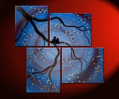 Original Painting Love Bird Wall Art Deep Blue Purple Cherry Tree Branch with Blossoms Unique Multiple Canvases Large Ships Quickly 47x41