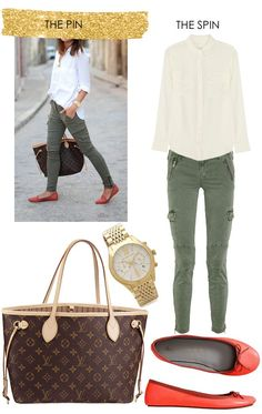 olive jeans   louis vuitton neverfull (preowned)   flats   gold watch   equipment signature silk shirt