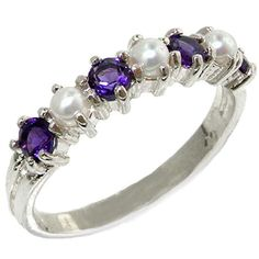 925 Sterling Silver Cultured Pearl  Amethyst Womans Eternity Ring  Sizes 4 to 12 Available ** Find out more at the image link.