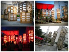 Huge lights for a summer festival made from pallets #Festival, #Light, #Pallets, #Recycled