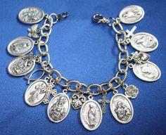 Religious Saint Medal Charm Bracelet (0119A)