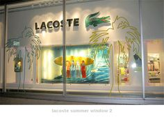 Fun and playful summer window display at Lacoste