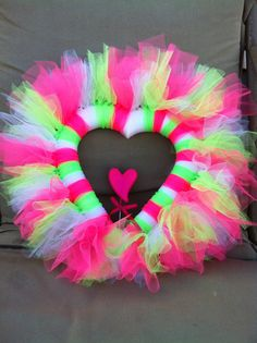 Pink and green valentine tulle heart wreath. $35.00, via Etsy.