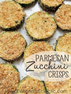 Parmesan Zucchini Crisps   www.EssentiallyEclectic.com   These Parmesan zucchini crisps are delicious, quick and easy to make, and make for a great appetizer or side dish!