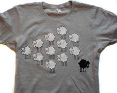 BLACK SHEEP  Funny t shirt  Silver Grey by SwitchDesignsNYC, $15.00