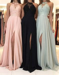 Sexy Side Slit Halter Pink Chiffon Cheap Prom Dresses in 2019 Cheap Prom Dresses Online, Prom Dresses For Teens, Prom Dresses Long With Sleeves, A Line Prom Dresses, Prom Party Dresses, Bridesmaid Dresses, Wedding Bridesmaids, Chiffon Dresses, Maxi Dresses