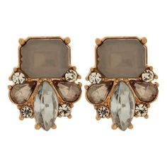 Post Earrings with Crystals and Stones - Gray