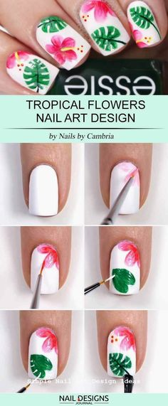 15 Super Easy Nail Designs DIY Tutorials: Tropical Flowers Nail Art The post 15 Super Easy Nail Designs DIY Tutorials: Tropical Flowers Nail Art appeared first on nageldesign. Nail Designs Easy Diy, Nail Designs Spring, Cute Nail Designs, Tropical Nail Designs, Diy Nail Designs Step By Step, Nail Art Flowers Designs, Animal Nail Designs, Spring Design, Tropical Flower Nails
