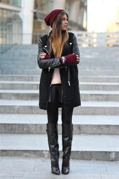 Burgundy, Black and Leather