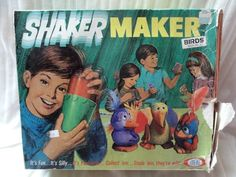 "1971 SHAKER MAKER.  ""Combine Shaker Maker magic mix with water shake, and in minutes you have a character that wiggles and jiggles. Like magic it shrinks and hardens, when dry paint like wild!""  And I did!"