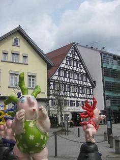 Funny sculptures in Albstadt-Ebingen, Baden-Wurttemberg