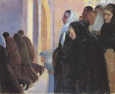 Ancher, Anna (Danish, 1859-1935) - Painting of an evening service in church at…