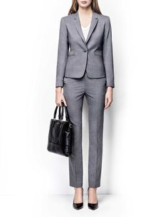 Macie trousers - Women's trousers in wool-stretch. Features two back paspoil pockets, two front pockets and cutlines at back. Regular waist with straight leg. For a complete suit look wear it with Olita blazer Light Grey Suits, Blazers For Women, Women's Blazers, Trousers Women, Women's Trousers, Tiger Of Sweden, Suit Jacket, Wonder Woman, Pockets
