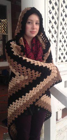 Crochet PATTERN - Hooded blanket, granny square hooded blanket, afghan blanket…