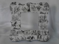Black and white toile picture frame. Square picture frame with scalloped edges.