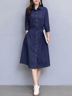 #Fashionmia - #Fashionmia Plain Denim Belt Single Breasted Pocket Maxi Dress - AdoreWe.com
