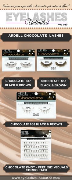 These lightweight, easy to apply and comfortable lashes are ideal for those who want a natural but full eye look   #Eye #EyeLashes #ChocolateLashes #Ardell #ArdellChocolateLashes #ArdellEyeLashes   http://www.eyelashesunlimited.com/