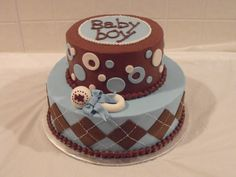 Blue, Brown, and White Baby Boy Baby Shower Cake.