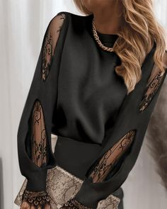 Office Outfits Women, Mode Outfits, Fashion Outfits, Chic Type, Mesh Tops, Sheer Mesh Top, Sleeves Designs For Dresses, Trend Fashion, Women's Fashion