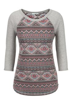 sleeve ethnic print baseball tee available at Fall Outfits, Cute Outfits, Fashion Outfits, Womens Fashion, Ethnic Print, Cute Shirts, Pretty Shirts, Plus Size Blouses, Western Wear