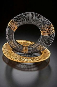 Contemporary art jewelry. Sterling silver. Gold.  Kathy Frey