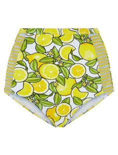 Yellow Lemon Print High Waisted Bikini Bottoms | New Look