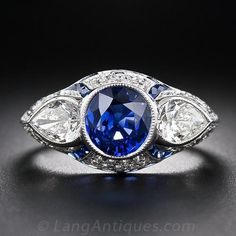 Art Deco Style Sapphire and Diamond Ring
