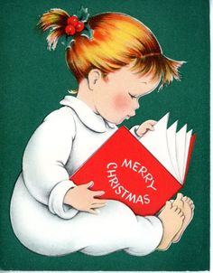 Vintage Norcross Christmas Greeting Card Girl Reading Book in PJ's 1473
