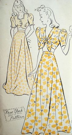 1940s EVENING GOWN PATTERN NEW YORK 1610 CIRCULAR FORMALLENGTH, MIDRIFF TOP, PUFF SLEEVES, BIG BAND ERA